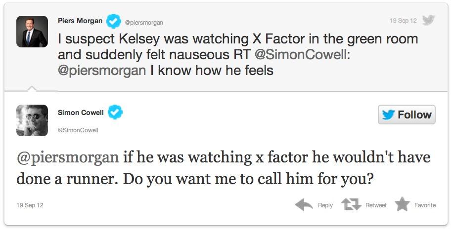 Screen Shot 2012 09 20 at 10.51.26 AM 1 Kelsey Grammer Piers Morgan Simon Cowell RUNNER TWEET DRAMA
