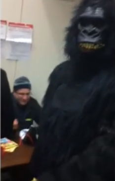 Screen Shot 2012 11 06 at 11.18.11 AM VIDEO: MAN ALLOWED To VOTE in Gorilla Costume
