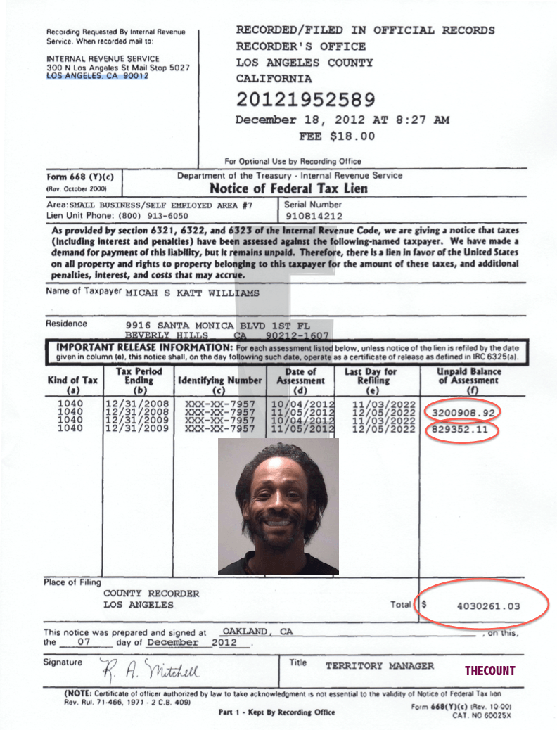 Screen Shot 2012 12 28 at 2.17.57 PM Katt Williams $4 Million Tax Lien Document (By Request)
