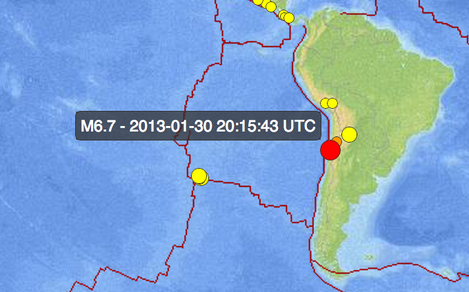 Screen Shot 2013 01 30 at 12.38.01 PM 6.7 Earthquake Strikes Chile