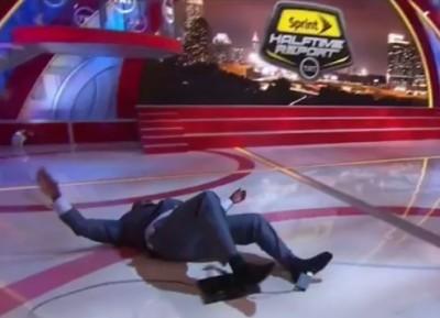 Shaq Falls HARD During Half Time Show