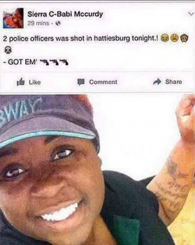 Sierra McCurdy facebook 400x502 Woman Who Celebrated Gunned Down Cops On Facebook FIRED
