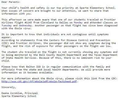 Sparta Elementary School ebola letter