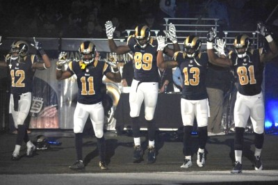St. Louis Rams Stage HANDS UP DON'T SHOOT Entrance