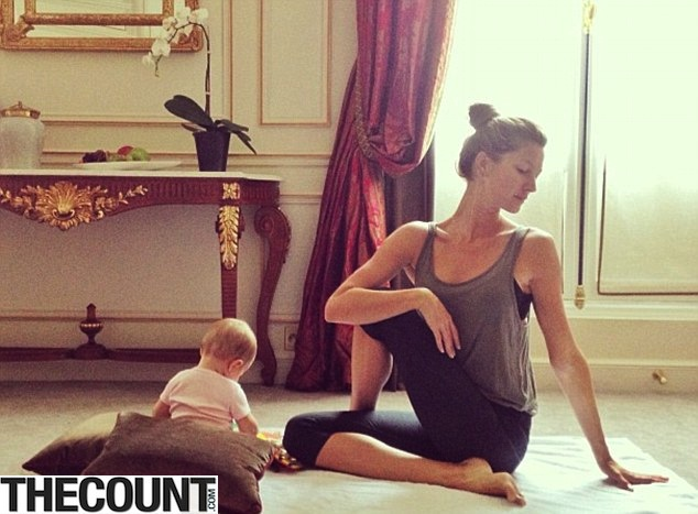 Striking a pose Gisele Bundchen baby yoga Gisele Bundchen Performing YOGA With Infant Child