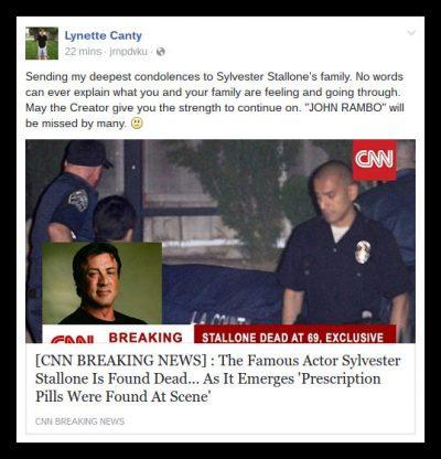 Sylvester Stallone death hoax facebook