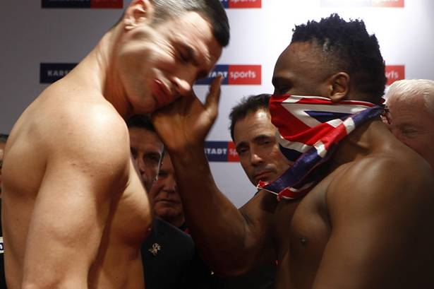 Vitali+Klitschko+is+slapped+in+the+face+by+British+boxer+Dereck+Chisora+during+the+official+weigh+in+Munich1