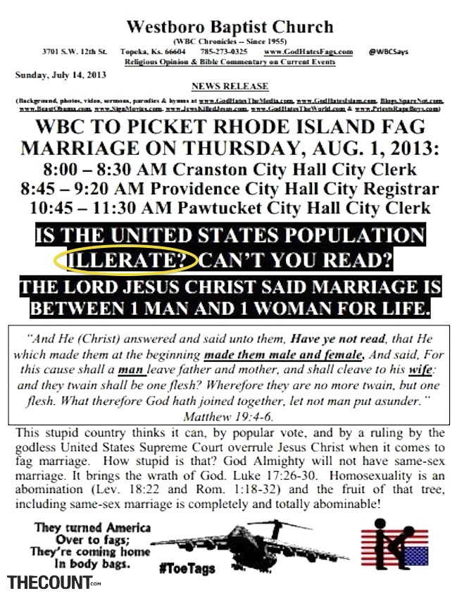 WBC illiterate1 HAHA Church MISSPELLS ILLITERATE On Literacy Awareness Hand Out