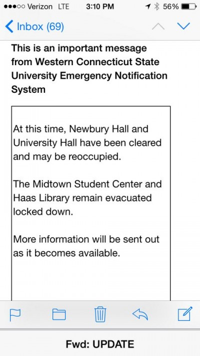 Western Connecticut State University On LOCKDOWN text