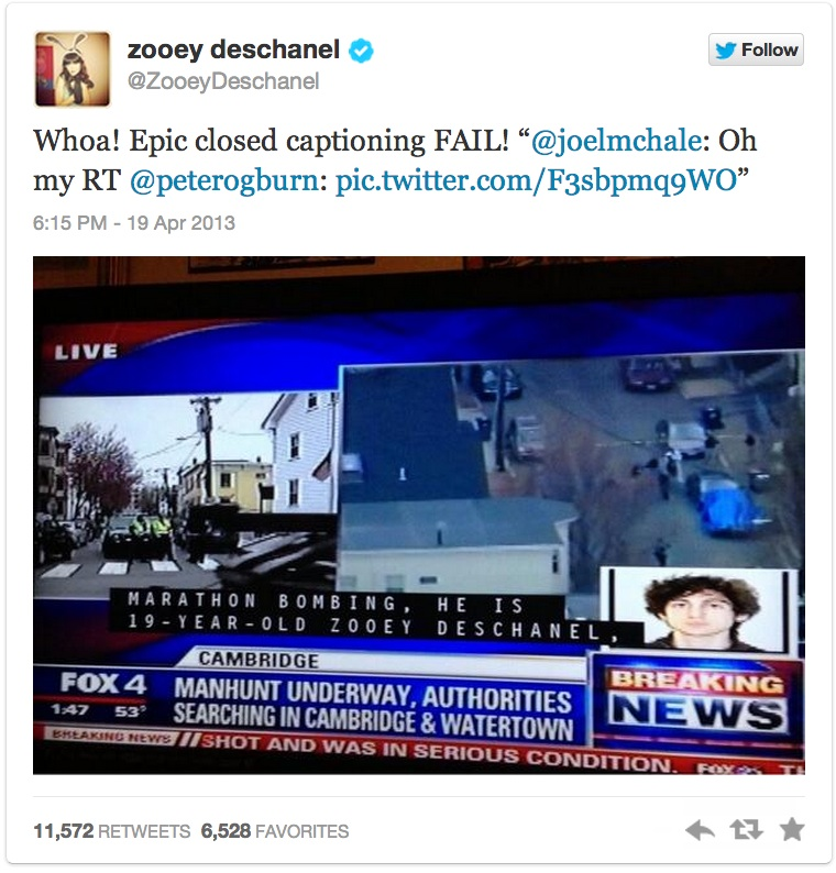 Zooey Deschanel had nothing to do with the Boston Marathon bombings