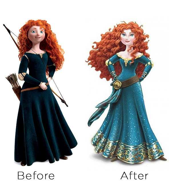 ae0e5db4 4d5e 41e8 845d b04eea6eebd9 630 merida before after v2 Disney Princess Makeover Sparks Outrage!