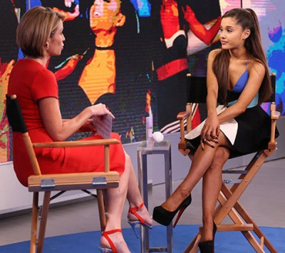 "GOOD MORNING AMERICA - Ariana Grande is a guest on ""Good Morning America,"" 9/15/15, airing on the ABC Television Network. (ABC/Fred Lee) AMY ROBACH, ARIANA GRANDE"
