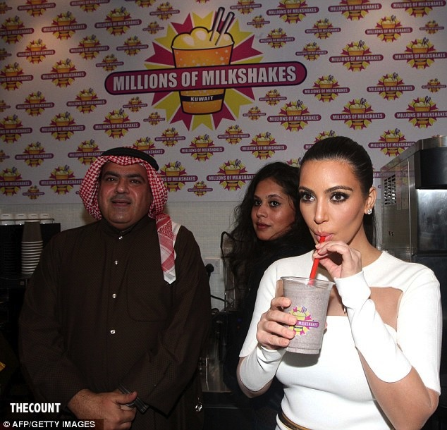 article 2241568 16460599000005DC 455 634x610 Teargas Opens Kim Kardashian Millions of Milkshakes In KUWAIT