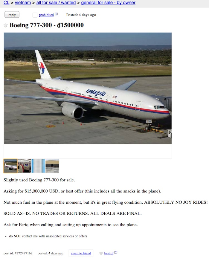 boeing 777 for sale craigslist