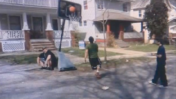 boys baskeyball hoop cops
