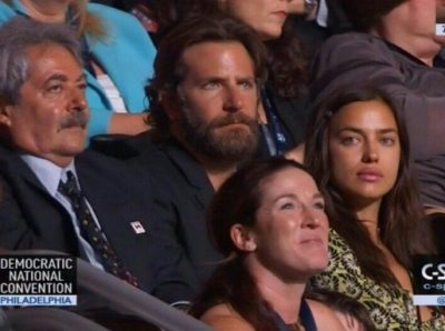 bradley cooper dnc 400x298 Yes, That Was Bradley Cooper Sitting In The Audience At The DNC! Fans Calling For Boycott