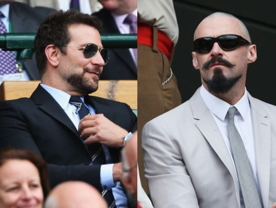 bradley cooper hugh jackman wimbledon matching beards 400x302 The Bearded Men Of Wimbledon Starring Bradley Cooper & Hugh Jackman