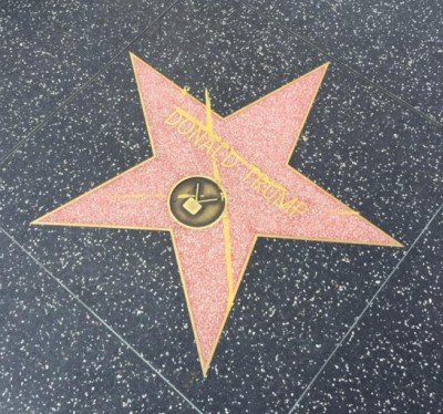 donald trump hollywood star Vandalized