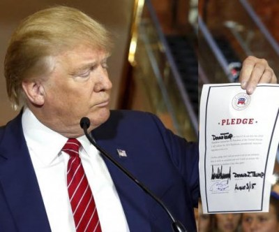 Trump Signs Pledge Vowing Not To Run As Independent