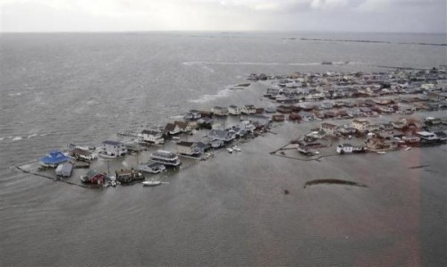 U.S. Coast Guard handout photo of homes flooded after Hurricane Sandy made landfall on the southern New Jersey coastline
