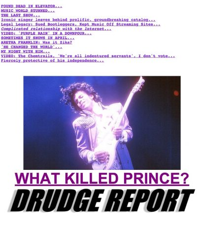 drudge report purple prince 400x457 Drudge Report Goes Purple In Prince Remembrance