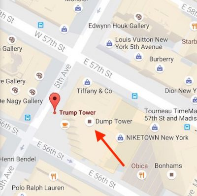 Trump Tower Nyc Map.Google Maps Lists Trump Tower As Dump Tower Thecount Com