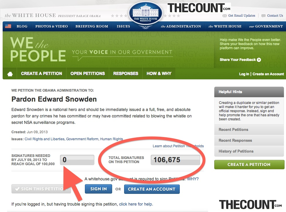 edward snowden pardon hits 100000