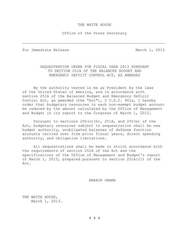f6f4fb42 de9e 4e5e becb c32be759ab67 800 Sequester budget cuts go into effect (official WH letter)