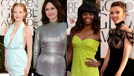 golden globes 2013 worst dressed jessica chastain gabrielle douglas emily mortimer gi Golden Globes Award For Worst Dressed Woman Goes To...