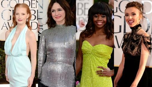 golden globes 2013 worst dressed jessica chastain gabrielle douglas emily mortimer gi Golden Globes Award For Worst Dressed Woman Goes To...