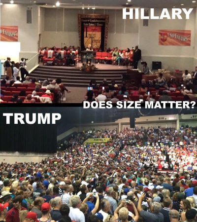 hillary vs trump draw crowd