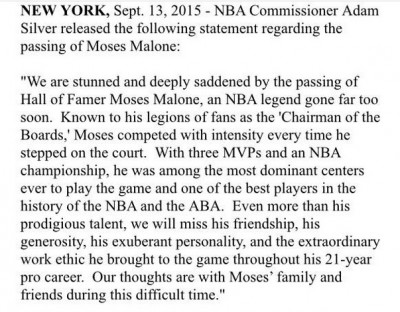 how did moses malone die
