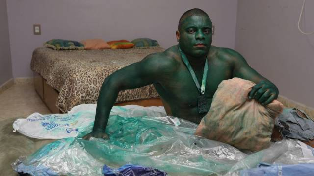 hulk Man Playing HULK Accidentally Uses Permanent Green Paint