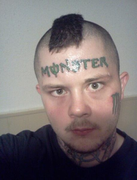monster tattoo on head