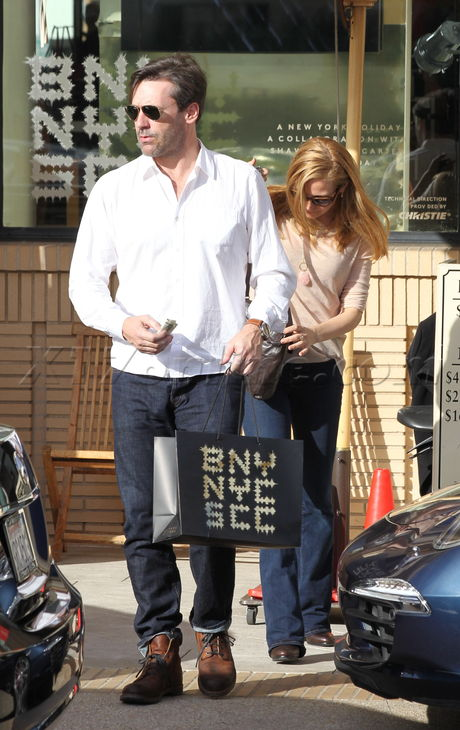 Jennifer Westfeldt and Jon Hamm shopping at Barneys New York