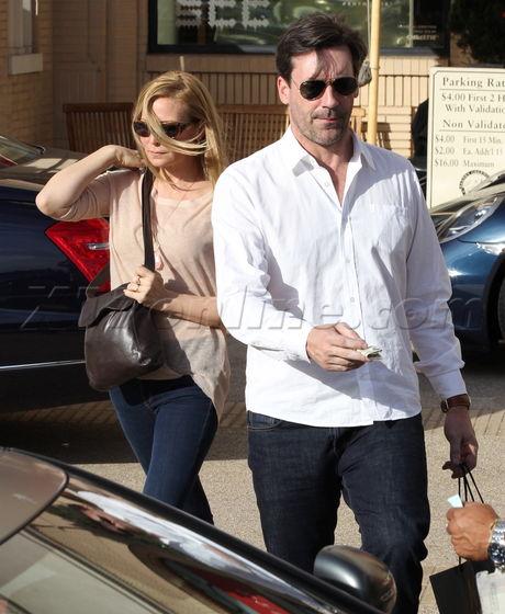 Jennifer Westfeldt and Jon Hamm shopping at Barneys New York