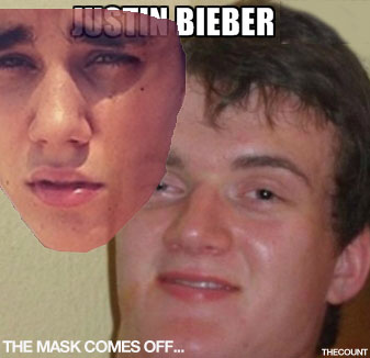 justin bieber mask (HUMOR MEME) Justin Bieber Removes His Mask Over Pot Accusations