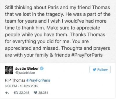 justin bieber paris attacks tweet