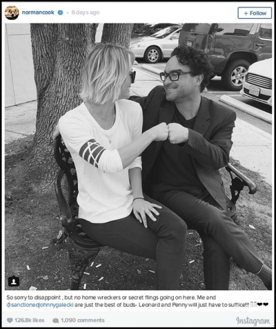 Kaley Cuoco denies romance with Johnny Galecki