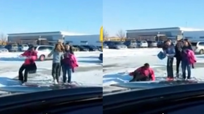 kids falling on ice