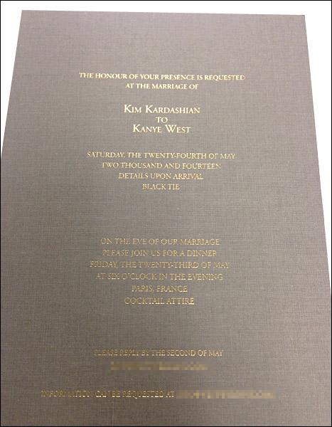 kim kanye wedding invatation
