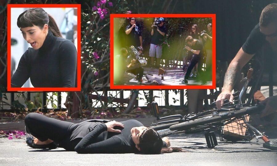 Exclusive... Kim Kardashian Suffers Bike Riding Fail on Set **NO INTERNET USE W/O PRIOR AGREEMENT**