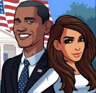 kim kardashian standing with obama