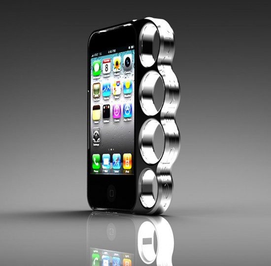 knucklecase iphone case 1 550x540 iPhone Plus Brass Knuckles Equals Awesome! Maybe Not
