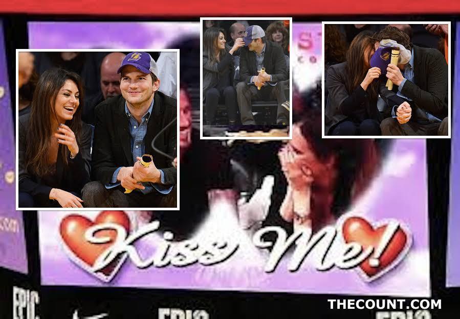 kutcher kunis kiss cam