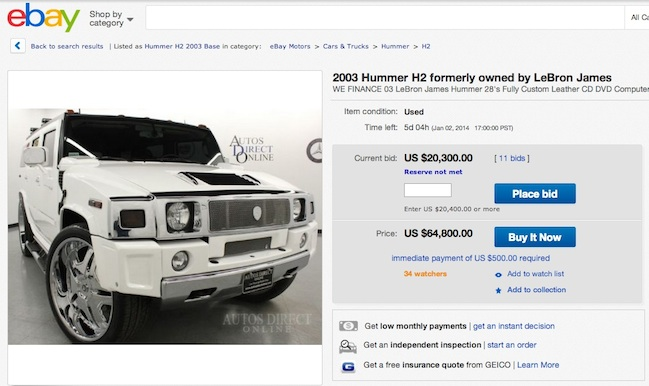 lebron james hummer ebay
