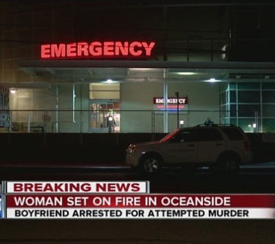 man sets gf on fire oceanside