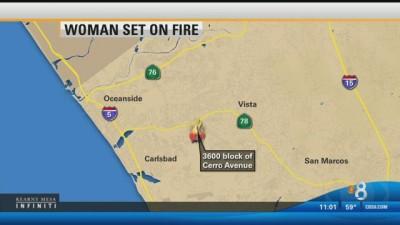 man sets woman on fire oceanside
