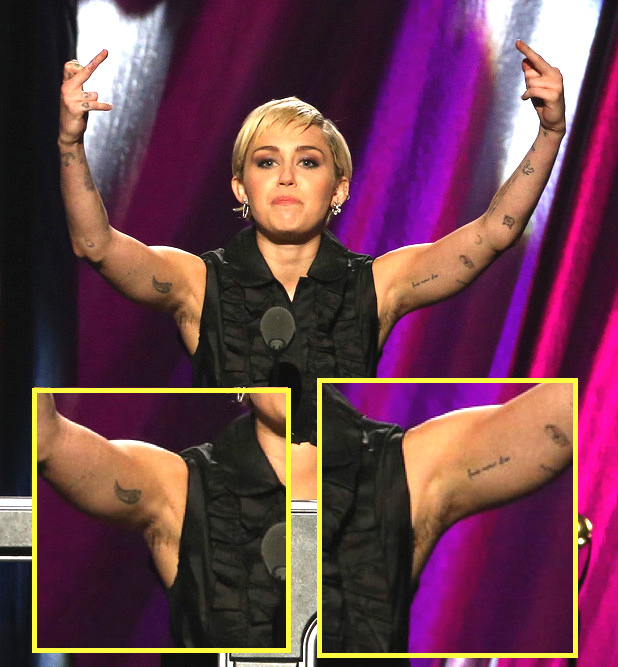 miley cyrus armpit hair rock and roll hall of fame