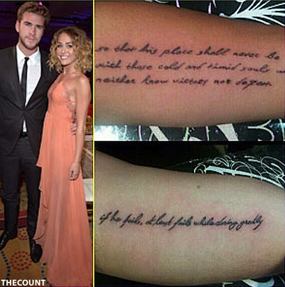 miley cyrus liam hemsworth matching tattoos Liam Hemsworth Stock Plummets After Getting Matching Miley Tattoo